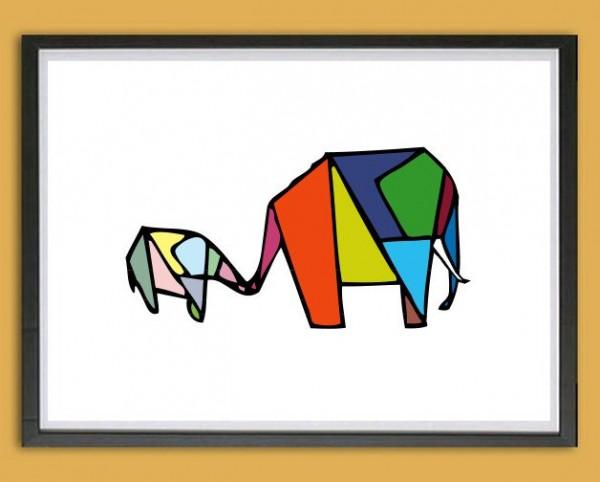 Grafik Druck | Mama + Kind, Origami