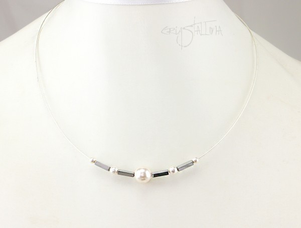 Drahtcollier Hämatit + Swarovski-Perlen | grau + weiß | Wunschlänge