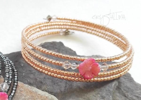 Spiral-Armband | Koralle, Swarowski und Miyuki-Perlen, Rosé