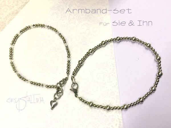 2 Armbänder für Sie und Ihn | Schmuckset aus Edelstahl und mit Swarovskikristallen