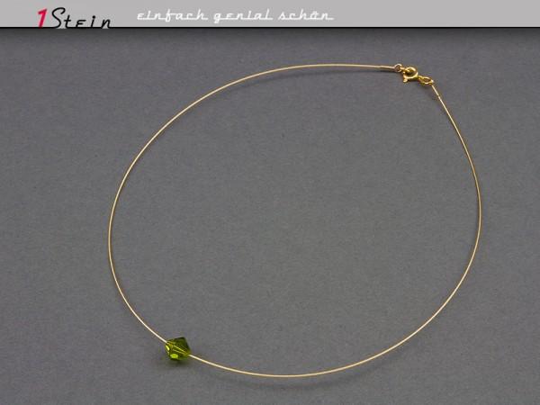 Draht-Collier | eine Swarovski Elements® Perle auf Gold | Farbauswahl