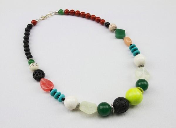 Halskette | Collier | Unikat | Edelstein-Mix, altsilber Elemente | ca. 50 cm