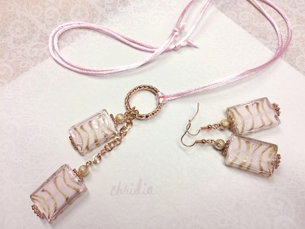 Schmuckset | Bandkette, Ohrringe | rosengold + rosa