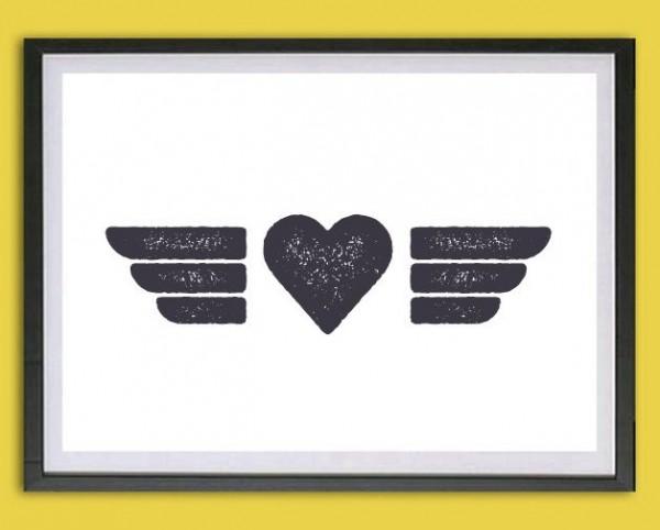 Symbol Druck | Flügelherz, Stempeloptik