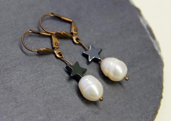 Ohrringe | Ohrhänger Kupfer | Süßwasserperle | Hämatit
