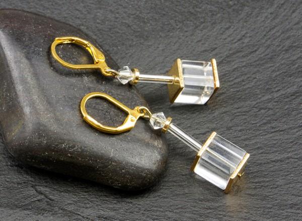 Würfelohrhänger | mit Swarovski-Elements® Kristal und Glaswürfel | Brisur vergoldet