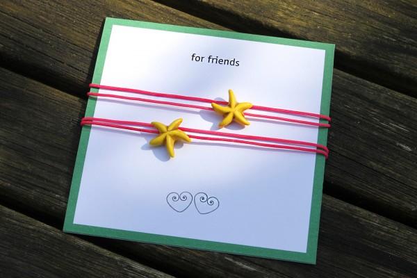 2 x Freundschaftsarmband, Boho-Style | Seestern zum Knoten
