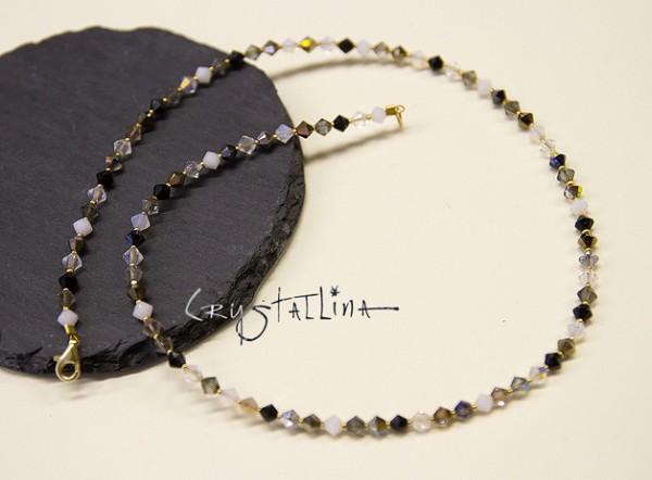 Kristall Collier | mit Swarovski Elements® | schwarzsilbergold 925 vergoldet