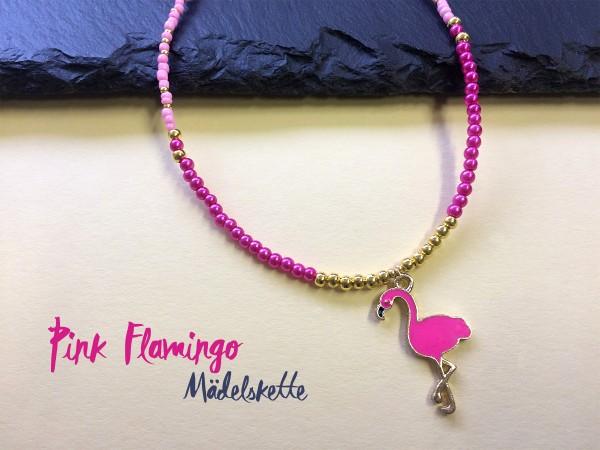 Halskette für Mädchen mit Flamingo Anhänger | pink, gold | Pepari