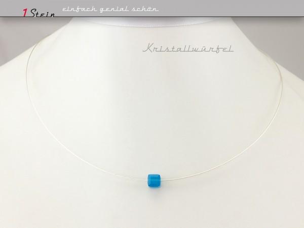 Draht Collier | Halsnahe Kette | Swarovski-Kristallwürfel | blau