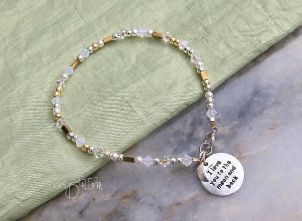 Mond Armband | LOVE you to the moon and back | mit Swarovski- Miyuki- und Hämatit