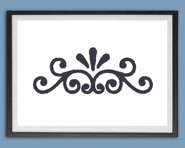 Grafik Druck | Ranke, Ornament, Stempeloptik