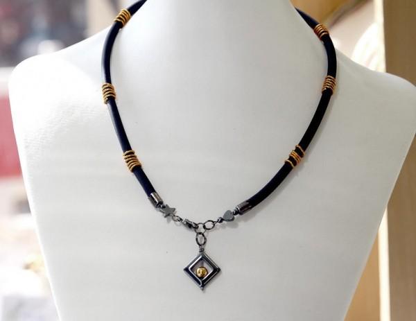 Kautschuk-Halskette | Stern, Herz, Spiraldraht