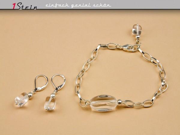 Armband + Ohrhänger | Schmuckset | Bergkristall, versilbert