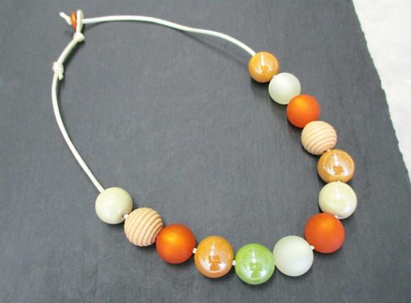 Collier | Kette | Kullerkette | großer Perlen-Mix auf Satinschnur