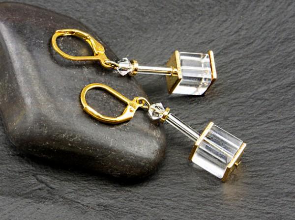 Würfel Ohrhänger | mit Swarovski Elements® Kristall und Glaswürfel klar, 8mm