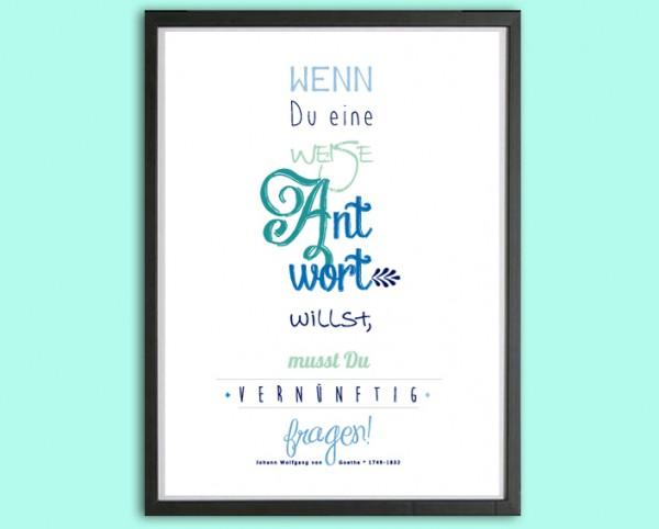 Typo Druck | *vernünftig*, Goethe | blau
