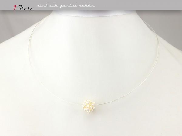 Collier | Hochzeitsschmuck | Brautkette | geperlte Perle, Silber