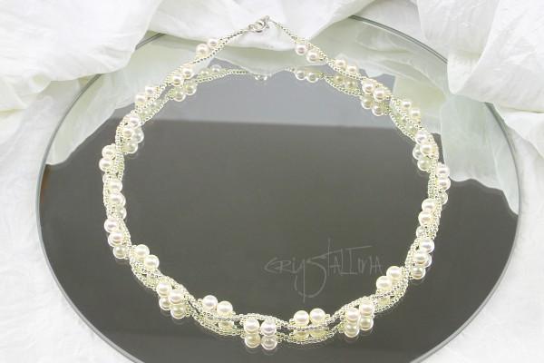Brautkette | Hochzeitsschmuck | mit Swarovski Kristallperlen, weiß, silber