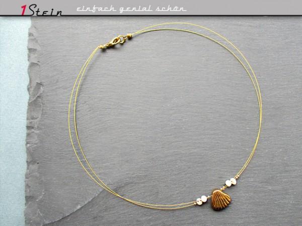 Draht Collier | böhmische Glasmuschel, Perlen