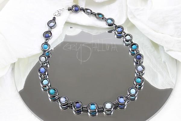 Halskette | Polariskette | Hämatit Collier | runde Perlen, blau