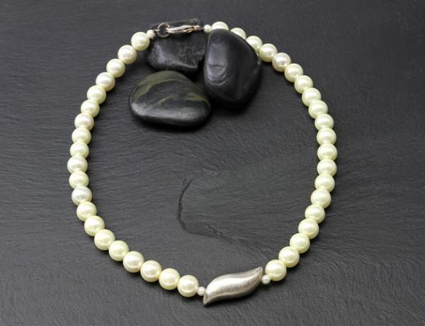 Festliches Collier | weiß - Silberwelle