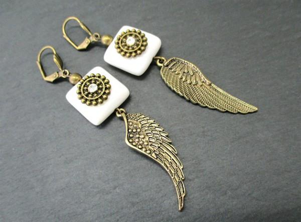 Ohrringe | Bronze-Ohrhänger | achat | Flügel + Strass