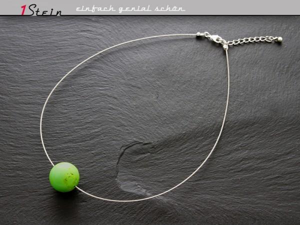 Draht Collier | große Naturstein-Perle, grasgrün