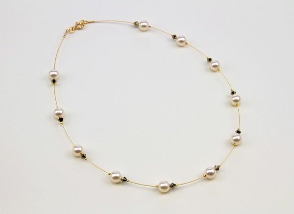 Draht-Collier | mit Swarovski Elements® Kristallen auf vergoldetem Juwelierdraht