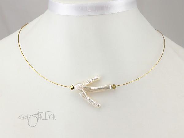 Kurze Halskette | Collier Perlenast auf Draht | Zuchtperle + Hämatit
