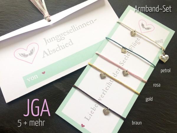 JGA Armband Set | 5 + mehr, Herz + Engelsflügel