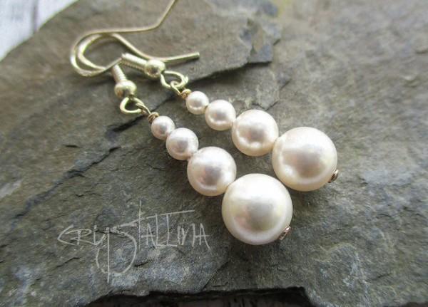Ohrhänger | mit Swarovski Elements® Perlen | Perlenpendel in weiß, 925 Silber