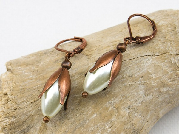Ohrhänger | Schneeglöckchen auf Kupfer