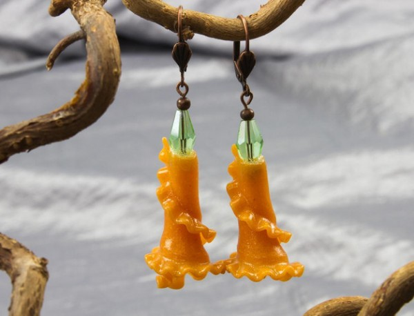 Upcycling Ohrhänger | Pasta~Rüschen, orange kupfer