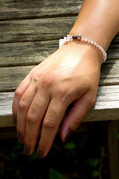 Buddha Armband | Rosenquarz, Kristall, Granat