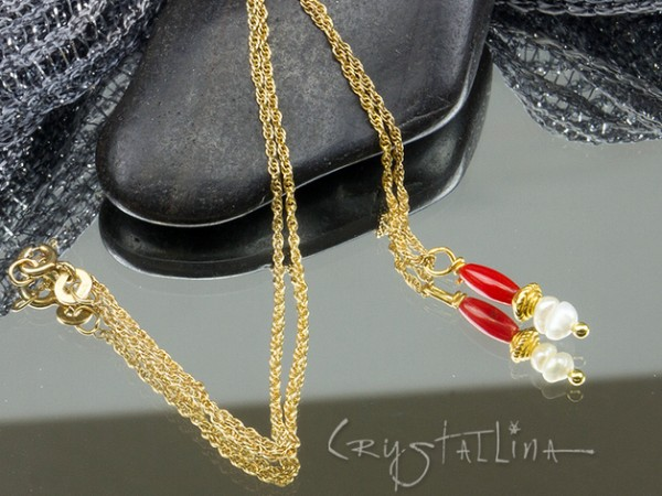 925 Silber Kette + Anhänger | Perle + Koralle