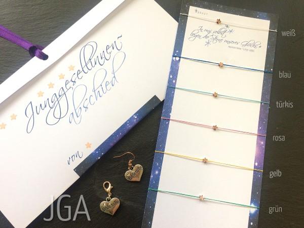 JGA Armbänder | SET | 6 + mehr: Glücksarmbänder, Stern + Seide