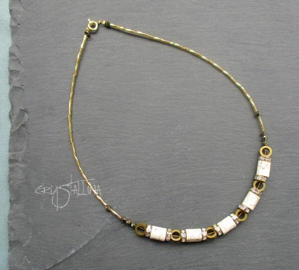 Strass-Collier | aus Swarovski Elements® Perlen | Stein Zylinder | Hämatitkreise | bronze und gold