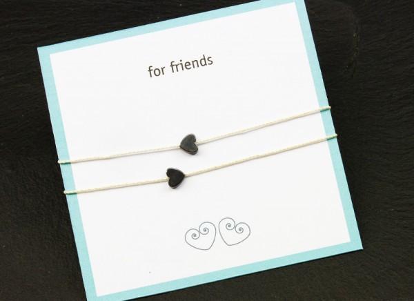 Freundschaftsarmband | Hämatit-Herzchen zum Knoten | 2 Stück