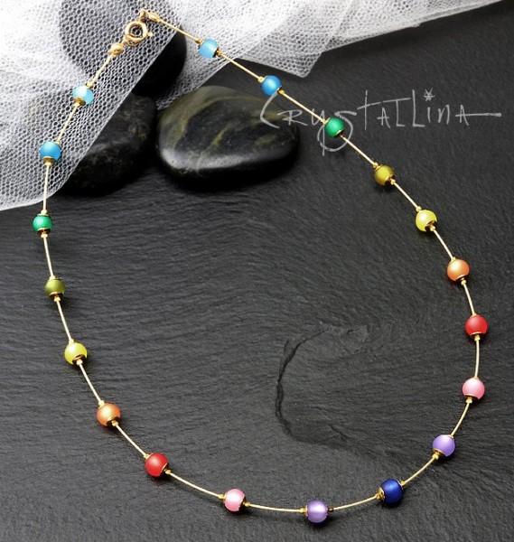 Halskette kurz | Regenbogen-Collier | mit Polaris© Perlen | Farbverlauf bunt, 925 Vermeil