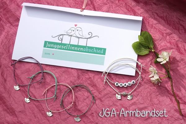BRAUT SET, 6 + mehr: JGA-Armbänder VOGELHOCHZEIT