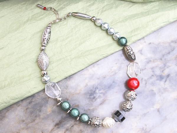 Halskette   Collier *ROT*   Formenmix, silber, grün   ca. 43cm plus Verlängerungskettchen