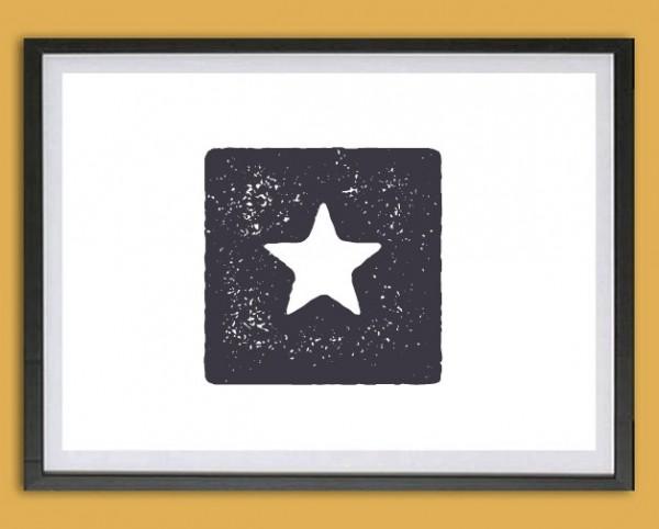 Symbol Druck | Stern im Quadrat, Stempeloptik