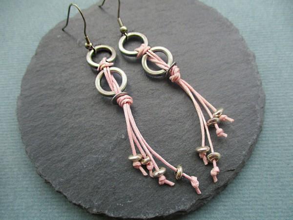 Ohrhänger | Ohrringe | Stahlringe + Stoffband, rosé | Edelstahl