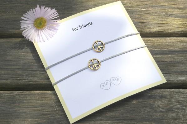 2x PEACE Armband | Freundschaftsband, elastisch