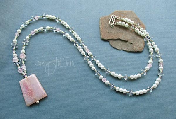 Edelsteinkette | Lange Trapez-Kette | mit Swarovski Elements® Perlen | Achat und Rosenquarz
