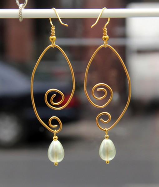 Ohrringe | Draht-Ohrhänger, gebogen | golden romance