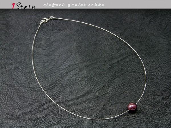 Draht Collier | mit Swarovski Elements® Perle | lila auf Juwelierdraht