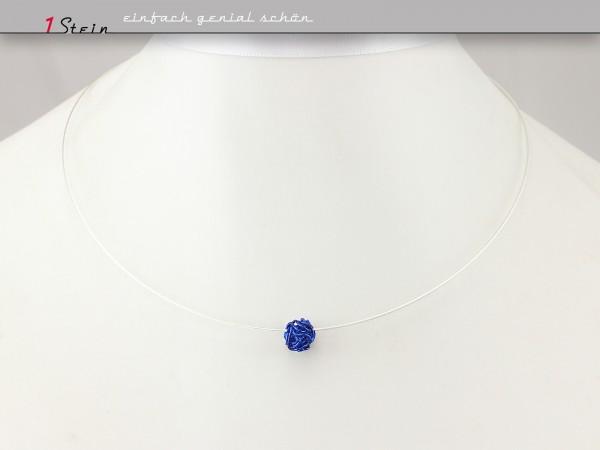 Collier | Perlenknäuel kobaltblau auf Juwelierdraht