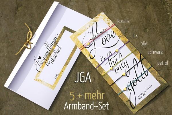 JGA SET | 5 + mehr: GOLDHERZ JGA-Armbänder, Braut